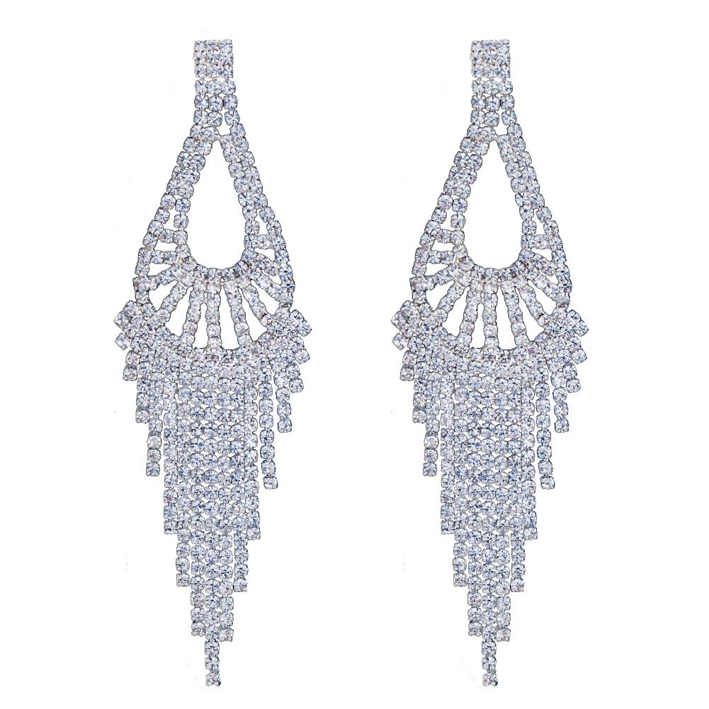 CHRAN Silver Rhinestone Long Tassels Chandelier Dangle Earrings Wedding Jewelry