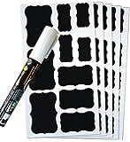 Sticker 50 Premium Chalk Chalkboard Blackboard Message Label Sticker Set for Jars, Tins, Boxes 1 Big White Liquid Chalk Glass Marker by Tile & Sticker