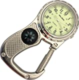 Glow in the Dark Belt Fob Watch with compass - Antique Silver