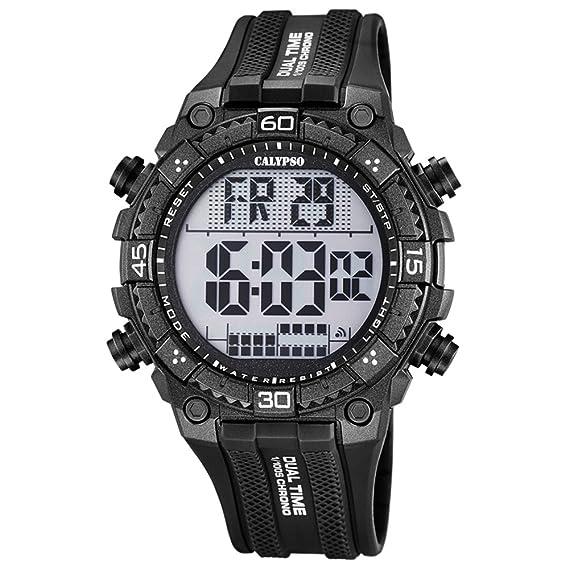 Calypso hombre-reloj deporte digital PU-pulsera negro cuarzo-reloj esfera negro UK5701/8: Calypso: Amazon.es: Relojes
