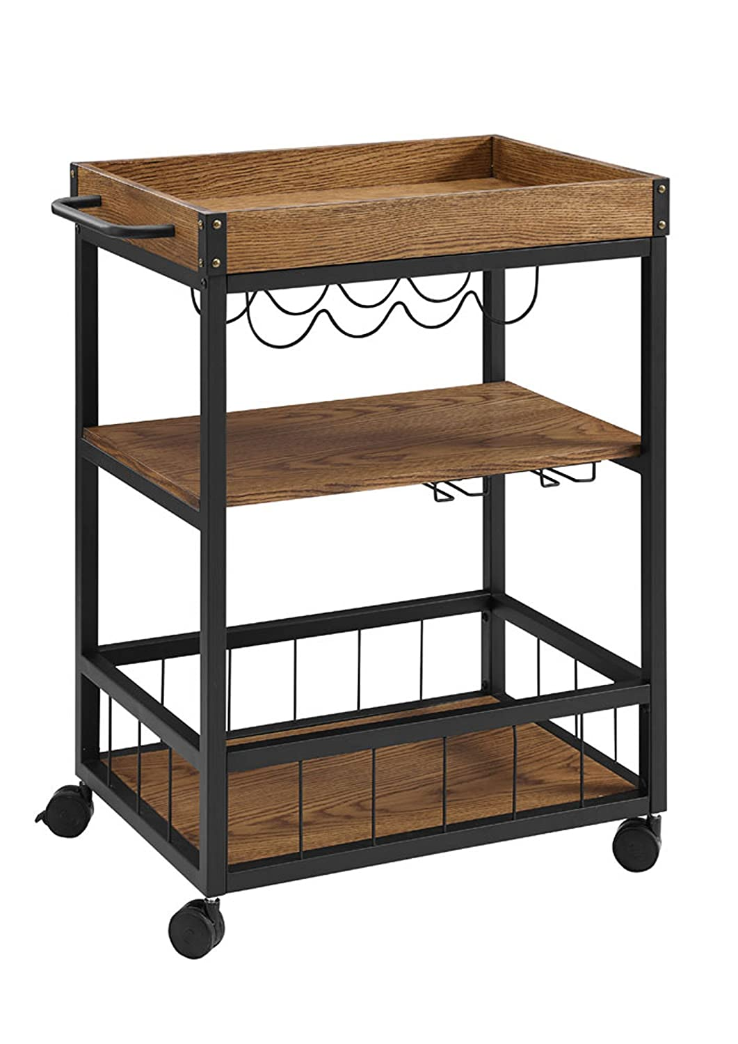 "Linon 464908MTL01U Austin Kitchen Cart, 30.5"" W x 18.13"" D x 36.25"" H, Black"