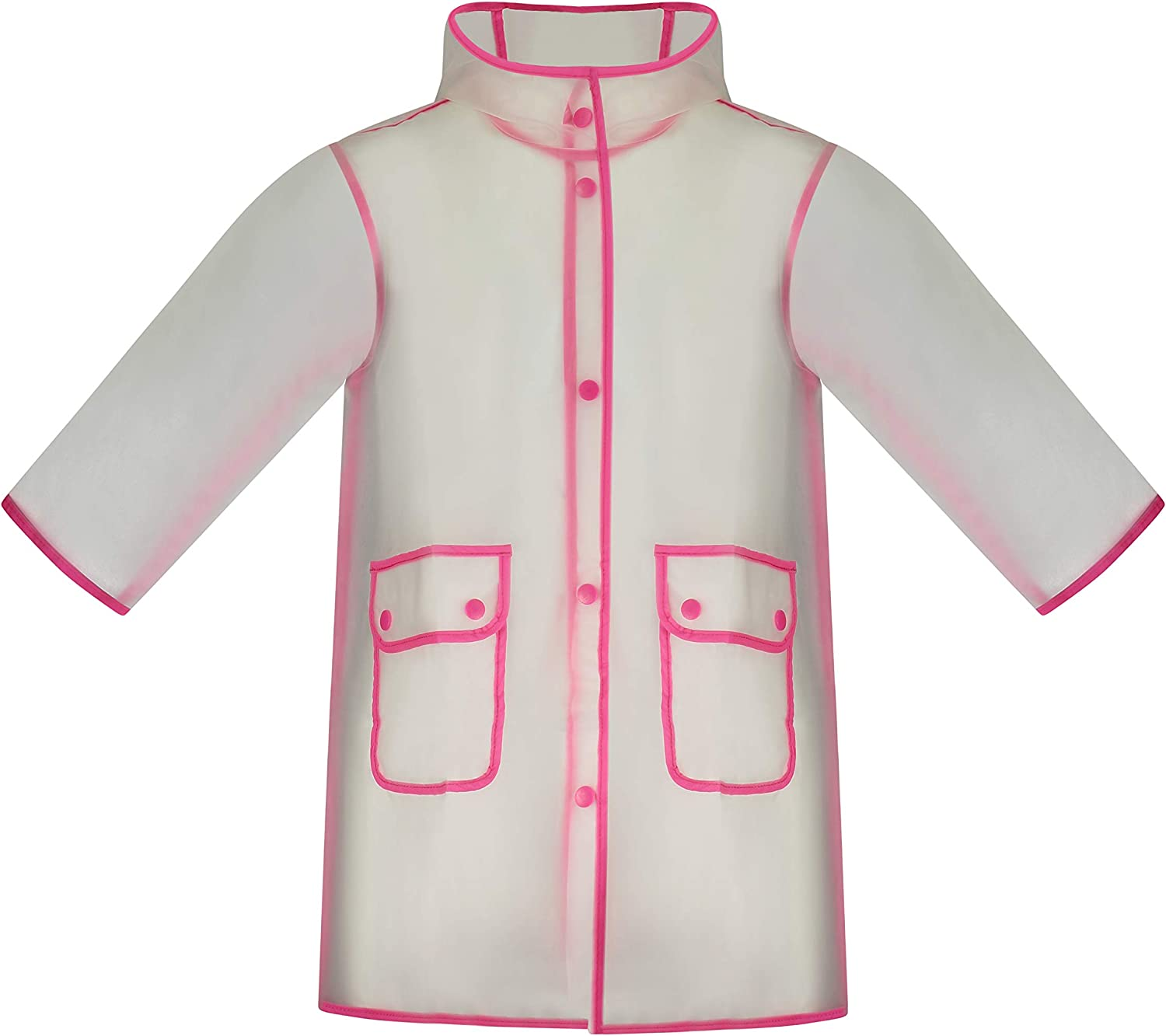 Fit Rite Kids Raincoat Girls Frosted Transparent Full Length Rain Jacket with Reflective Piping