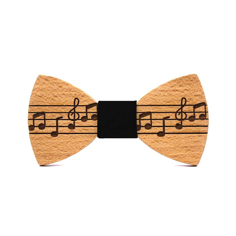 Pajarita de madera Pentagram. Colección de moda hombre: Madera natural, hechas a mano en España por Territorial Wood. Línea boda y eventos. Regalo elegante y original. Pentagrama musical. Nudo negro (más colores a elegir)