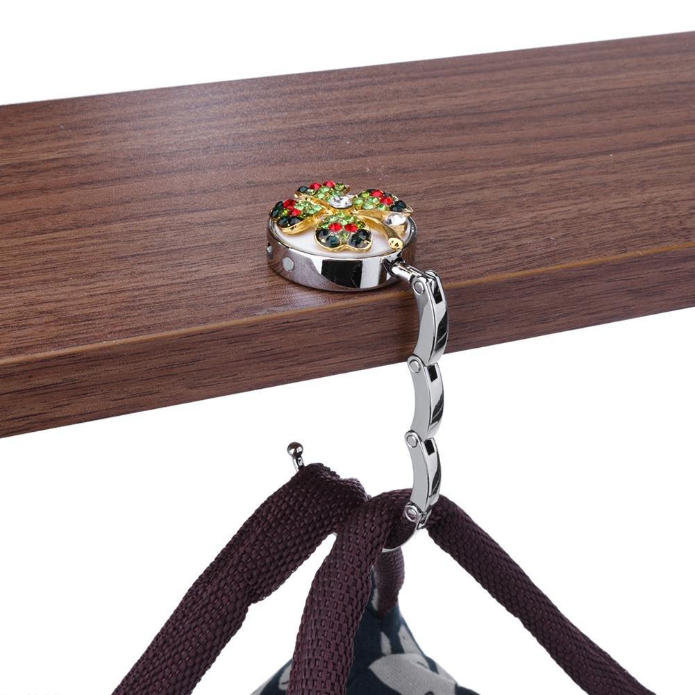 A Matefield Four Leaf Clover Portable Folding Desk Handbag Bag Hanger Holder Hook