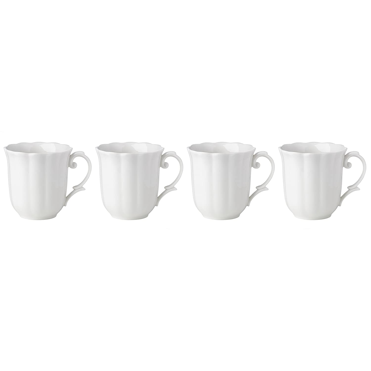 Set of 4 Lenox Butterfly Meadow Solid White Mugs 869526