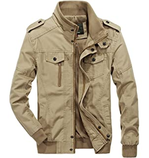 bf8859fe910bf RongYue Men's Casual Cotton Military Jacket Spring Lightweight Outwear Coat