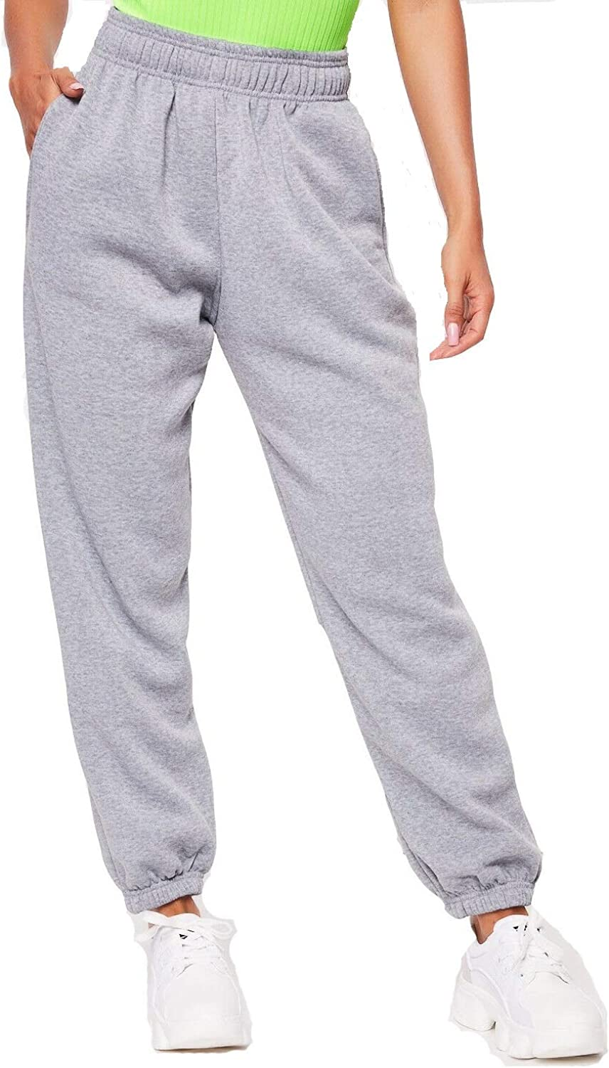 Miss Boho Chic Women Fleece Casual Oversized Jogging Joggers Ladies Cuffed Tracksuit Bottoms
