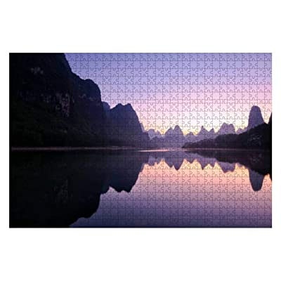 Mountain Reflections at Dawn, Guilin, China Mountain Stock 1000 Piece Wooden Jigsaw Puzzle DIY Children Educational Puzzles Adult Decompression Gift Creative Games Toys Puzzles Home Decor: Toys & Games