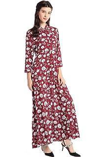 Camisa de vestir de manga larga de estilo Boho para mujer vestidos Vestido maxi de estampado floral de la vendimia vestidos…