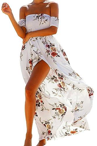 Vsecrety Vestito chiffon dalla spalla delle donne di Boho fuori dal vestito dai vestiti lunghi Maxi ...