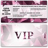 Einladungskarten Geburtstag (30 Stück) VIP Party Edel Pink Lila Ticket  Geburtstagskarten Geburtstagseinladungen Karte Einladungen