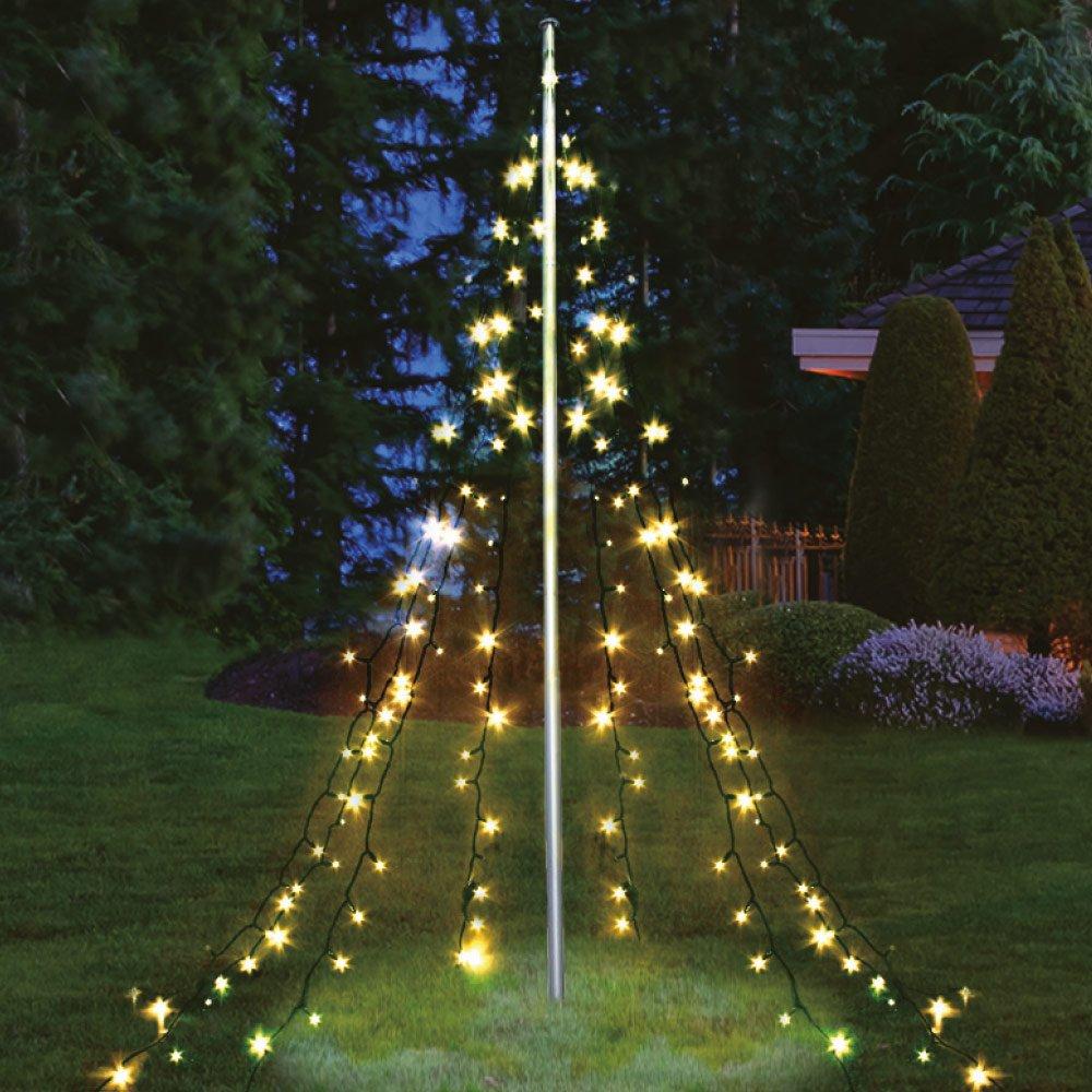 Fahnenstangen Beleuchtung Weihnachtsdekoration Weihnachtsbaumbeleuchtung Multistore 2002 Fahnenmast Lichterkette warmweisses Licht 360 LED`s 10 Str/änge a 8m