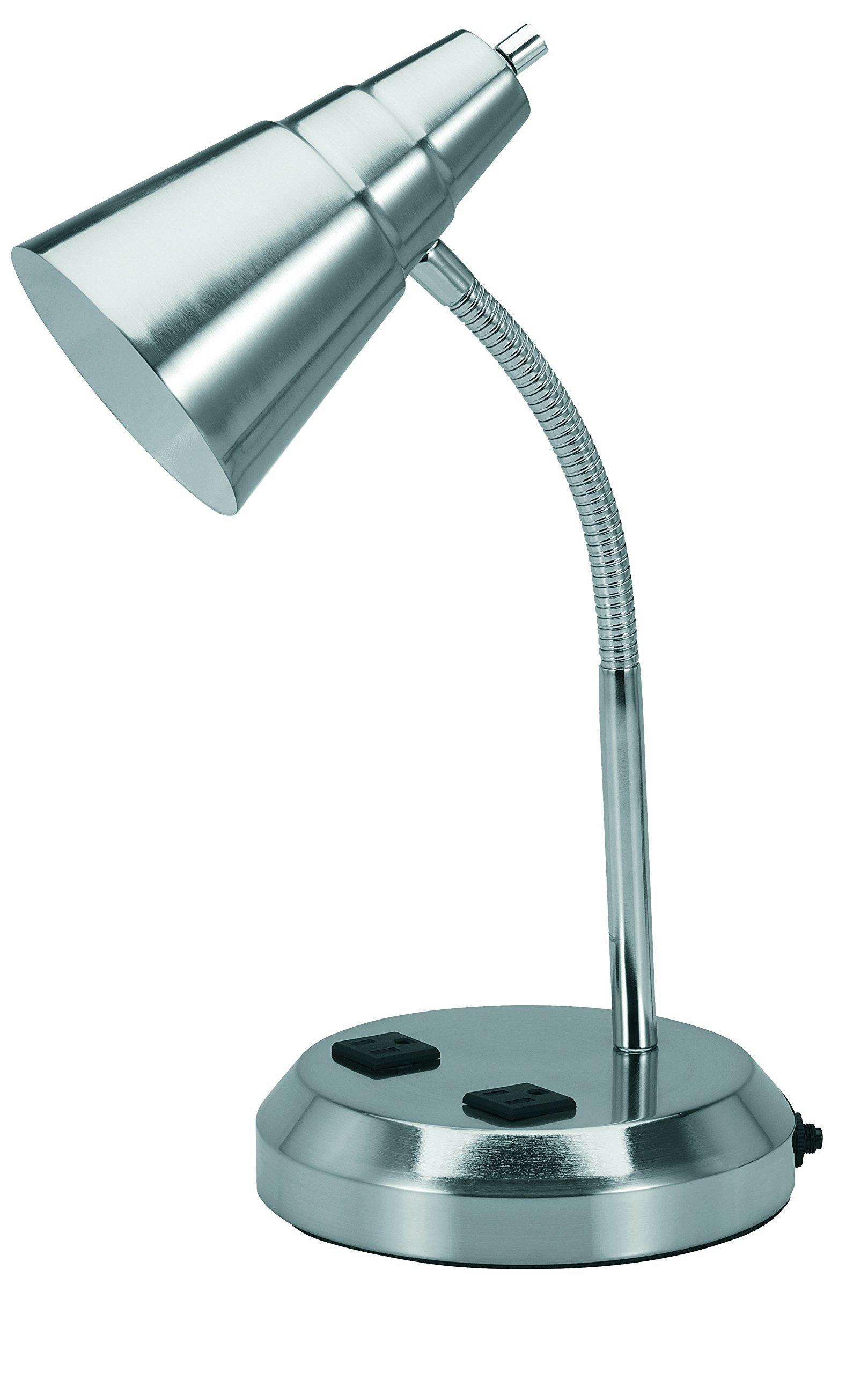 V-LIGHT Charging Outlet CFL Desk Lamp with 2 Grounded 2.5A Power Outlets and Adjustable Gooseneck Arm (VS20105BN)