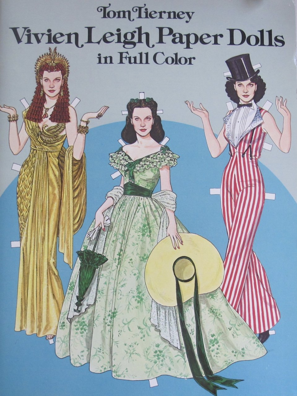 Tom Tierney VIVIEN LEIGH PAPER DOLLS BOOK (UNCUT) in Full COLOR w 1 Card Stock DOLL & 28 COSTUMES/Fashions (1981 Dover)
