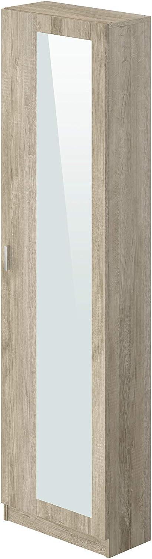 Marca Amazon -Movian Indre Modern - Armario zapatero de 1 puerta con espejo, 23 x 50 x 179 cm (Efecto Roble)