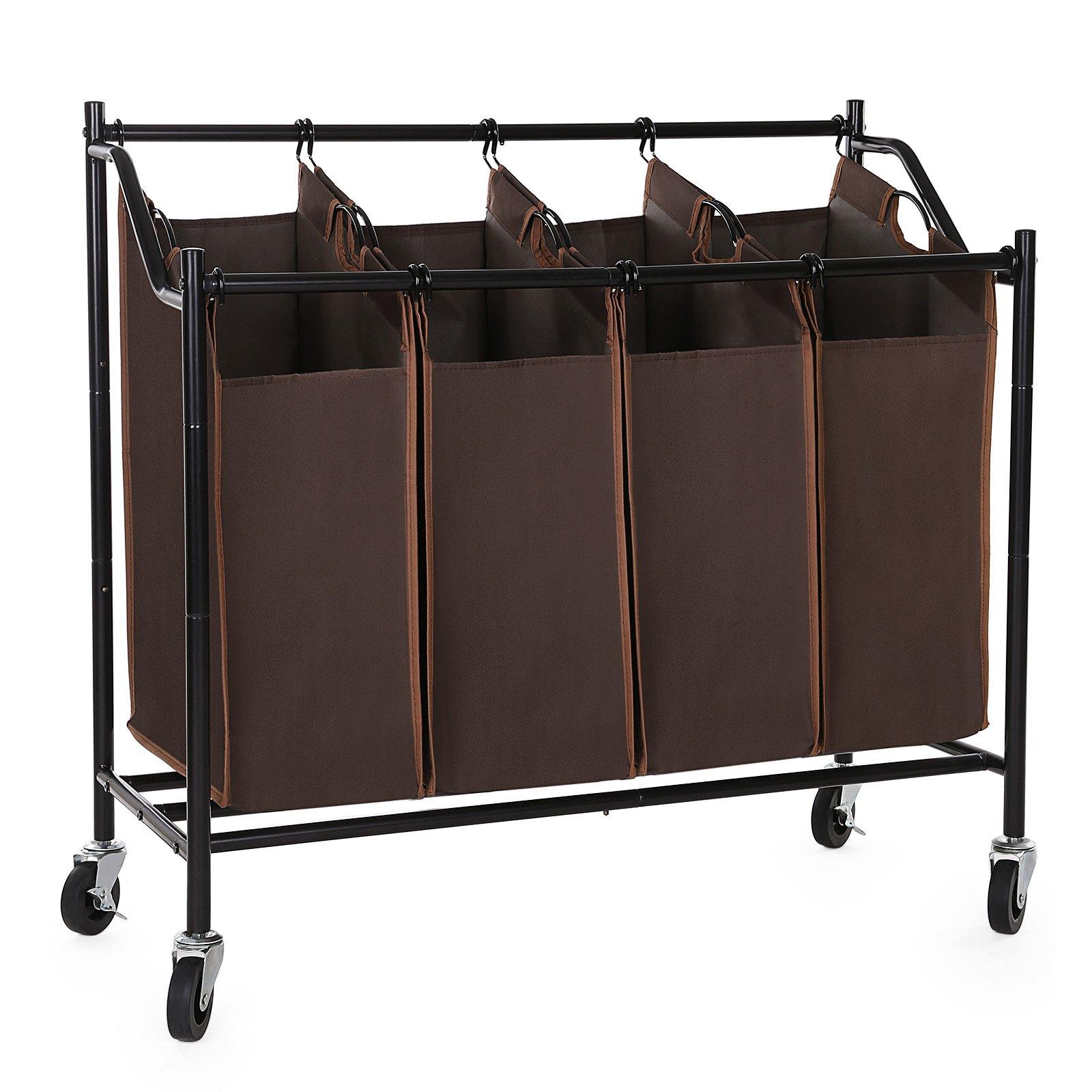 SONGMICS 4-Bag Rolling Laundry Sorter Cart Heavy-Duty Sorting Hamper W' Brake Casters Brown URLS90Z