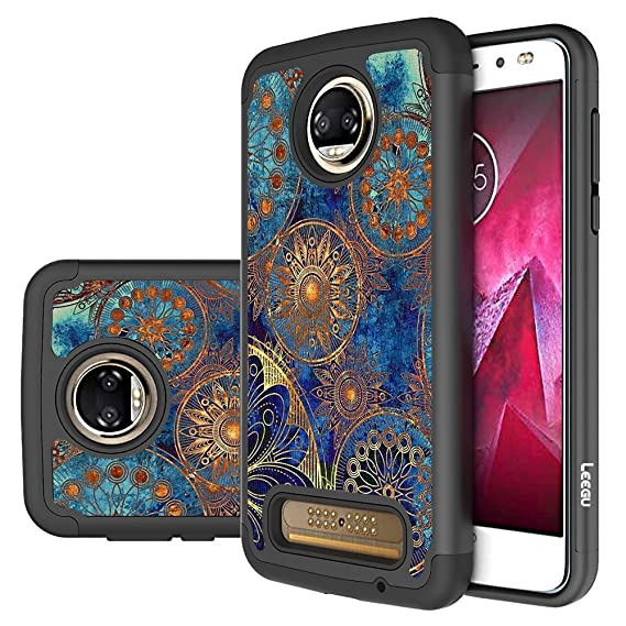 pretty nice 69a89 bd528 Moto Z2 Force Edition Case, Moto Z2 Force Case, LEEGU [Shock Absorption]  Dual Layer Heavy Duty Protective Silicone Plastic Cover Case for Motorola  ...