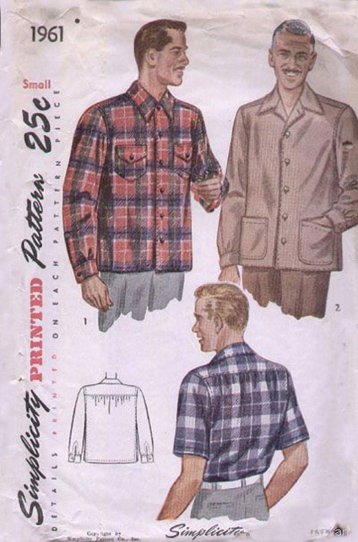 Vintage Simplicity Printed Patterns 1940s Mens Shirts