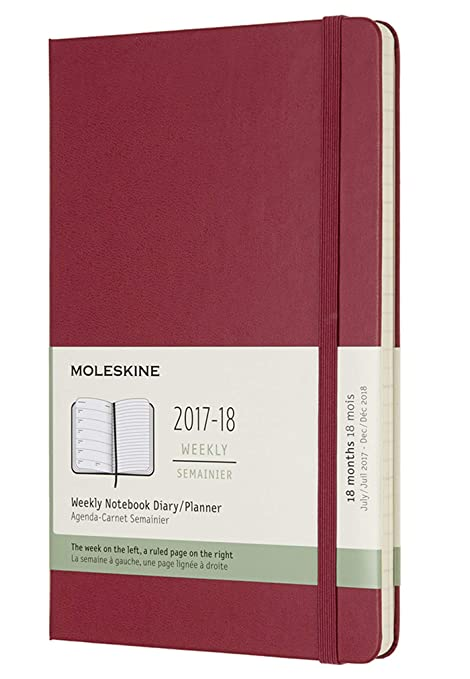 Moleskine Classic 18 Month 2017-2018 Weekly Planner, Hard Cover, Large (5