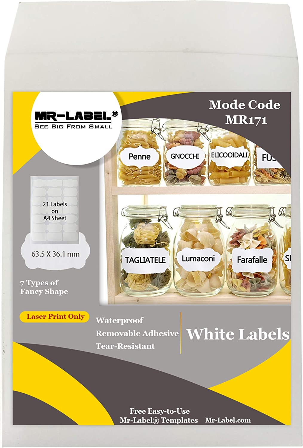 Mr-Label 7 Types of Fancy Shape Waterproof Removable Adhesive Labels – Tear-Resistant Stickers for Kitchen Use | Oil Bottles | Organizing and Filing - Laser Printer Only (Size: 63.5 mm x 36.1 mm)
