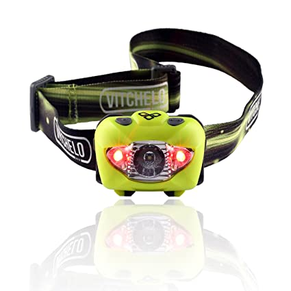 VITCHELO Waterproof LED Headlamp with Red Lights