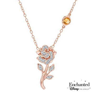 Amazon.com  Enchanted Disney Fine Jewelry Diamond Belle s Rose ... e6d894cab4