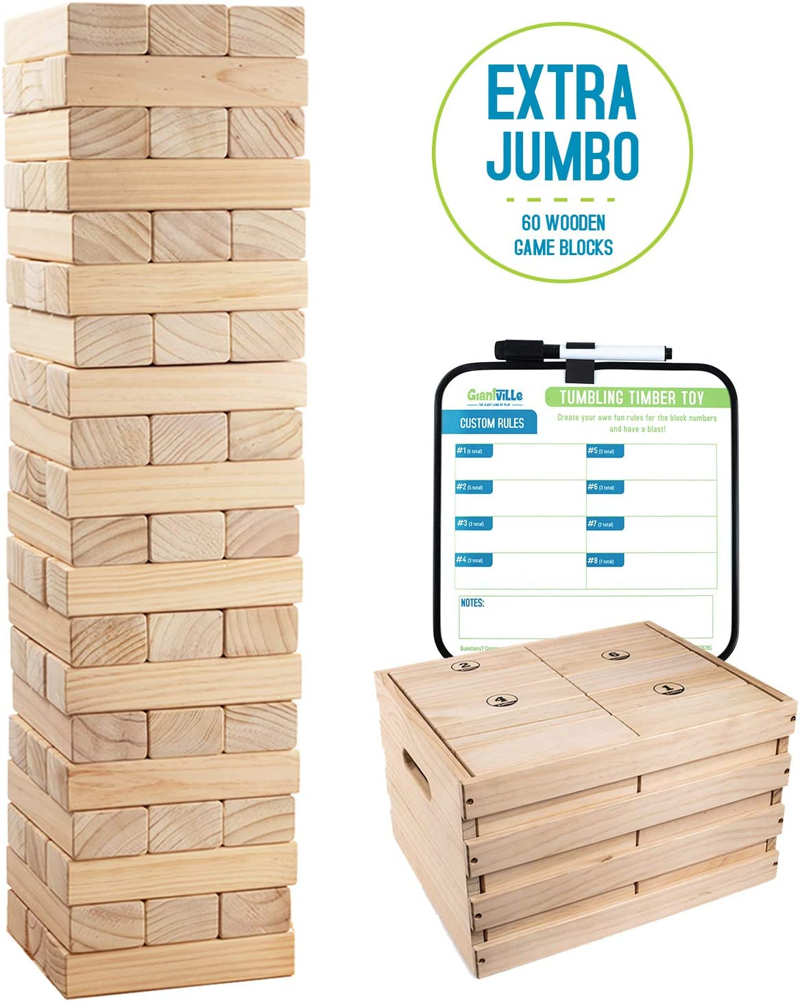 60 Extra Jumbo Wooden Blocks Floor Game for Kids and Adults Giant Tumbling Timber Toy Life Size- Grows to Over 6-feet w// Storage Crate//Game Table-No Assembly Required Premium Pine Wood