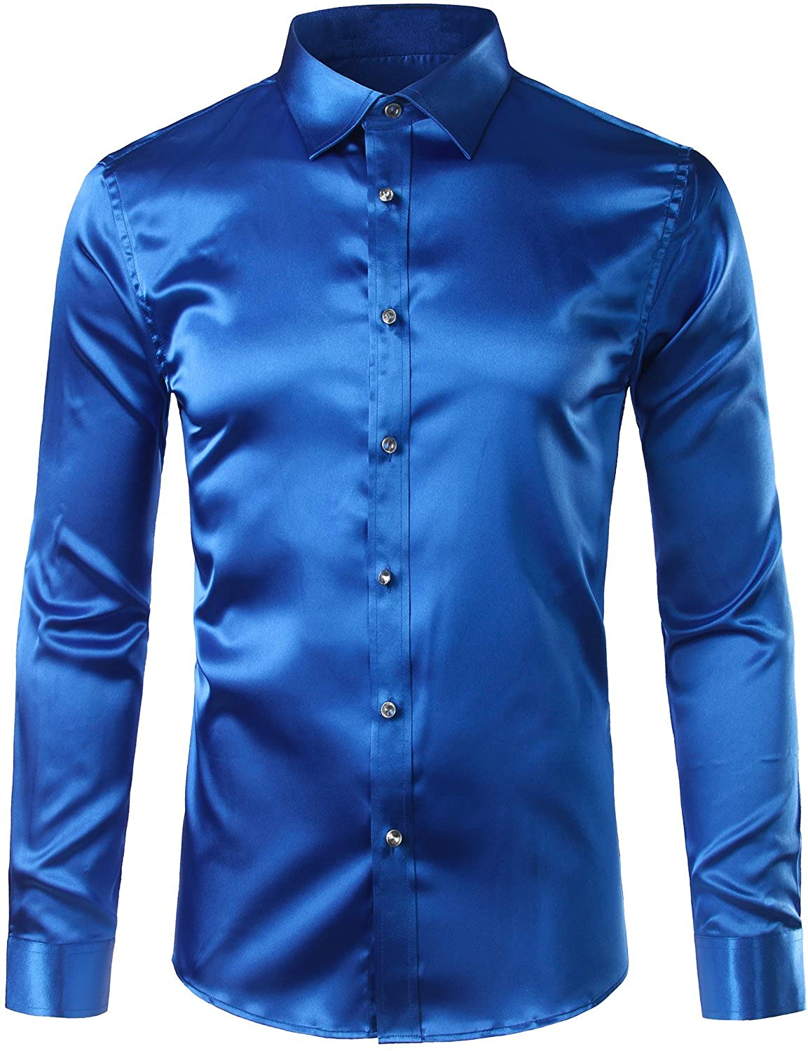 1960s Inspired Fashion: Recreate the Look Zeroyaa Mens Solid Color Casual Slim Fit Long Sleeve Shiny Satin Prom Dress Shirt Tops  AT vintagedancer.com