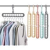 Magic Hanger,ZEELOK 6pcs Perchas Ahorra Espacio Gancho Giratorio 360/º Perchas de Armario Multifuncional Perchas Ropa Organizador para Guardar Camisetas//Polos//Vestidos//Parkas//Chaquetas