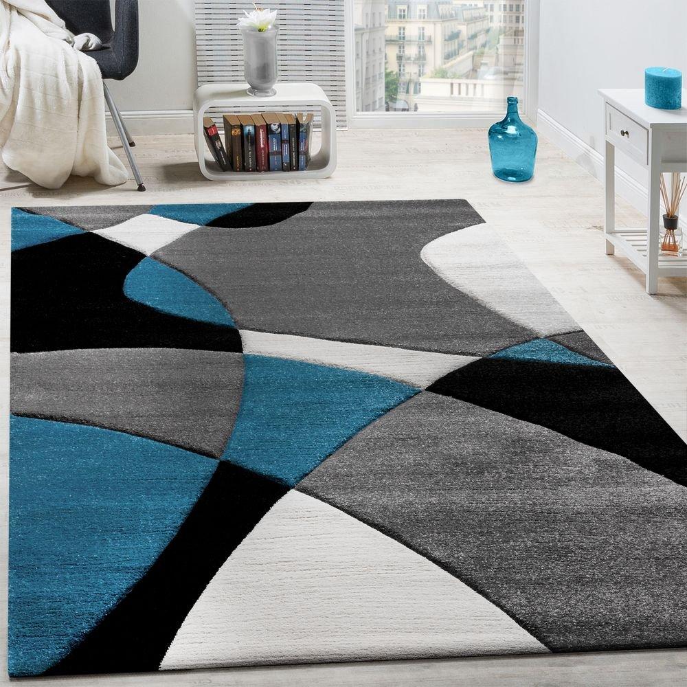 Paco Home Designer Teppich Modern Geometrische Muster Konturenschnitt In Türkis Grau Schwarz, Grösse 160x230 cm