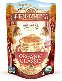 product image for Organic Pancake and Waffle Mix, Classic Recipe by Birch Benders, Whole Grain, Non-GMO, Just Add Water, 16oz (Packaging may vary)