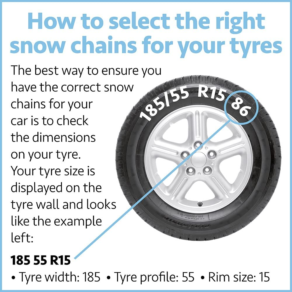 Rim Size 13-17 Inch Wheels SUV /& Van Tyre Width 145-240mm Model A To Fit Car Auto Tecnik Pair of Corrosion Resistant Car Tyre KNS Snow Chains Anti Skid Easy to Fit Winter Grip 20Mn2 Steel