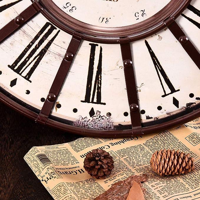 Amazon.com: Lingxuinfo Wall Clock, 22-inch Retro Type Silent Wall Clock Decorative Clock for Living Room Kitchen Bedroom: Home & Kitchen