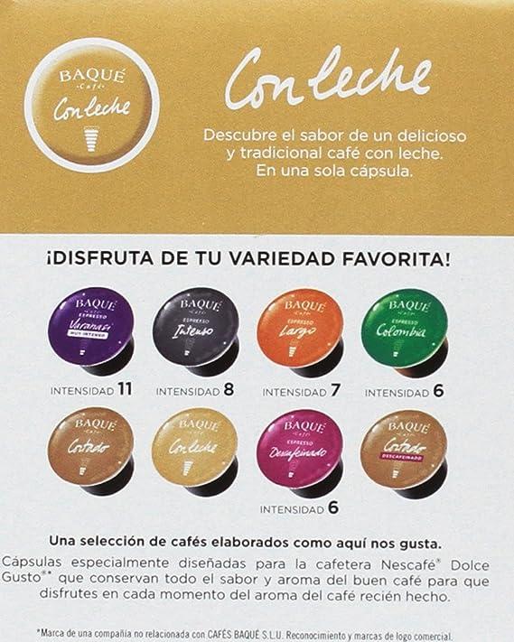 Cafés Baqué, Cápsulas de café (Con leche, compatible con Dolce Gusto) - 4 de 10 Cápsulas (Total 40 Cápsulas)