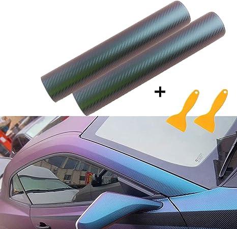 300cm Pellicola Adesiva Fibra di Carbonio Rivestimento Adesivo Colore variabile da Viola a Blu Camaleonte,Car Sticker Wrapping Auto e Moto Pellicola Adesiva Protettiva,30