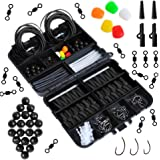 Carp Fishing Tackle Box Dr.fish 219 pezzi con clip di sicurezza girevole Ganci terminali tubo Joblot accessori opzionali, 4 colori