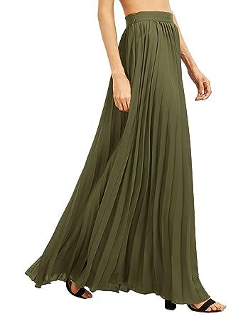 ROMWE Women's Retro Vintage Summer Chiffon Pleat Maxi Long Skirt ...