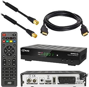 HB DIGITAL Set : Receptor de cable DVB-C Comag DKR60 HD DVB-C Receptor para TV por cable + cable HDMI + cable de antena de 1m con filtro de corriente ...