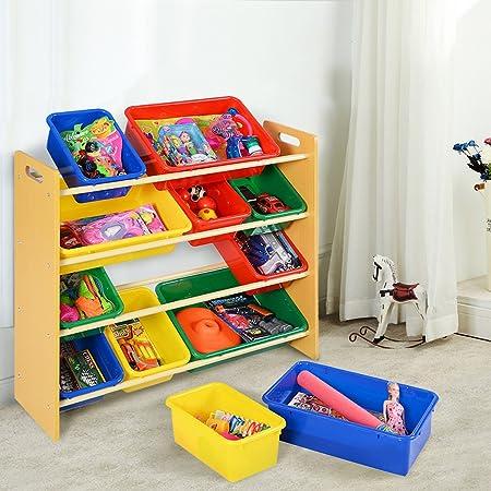 Costway Toy Storage Unit 12 Plastic Multicolor Bins Kids Children Play  Organizer Boxes Shelf Furniture 4