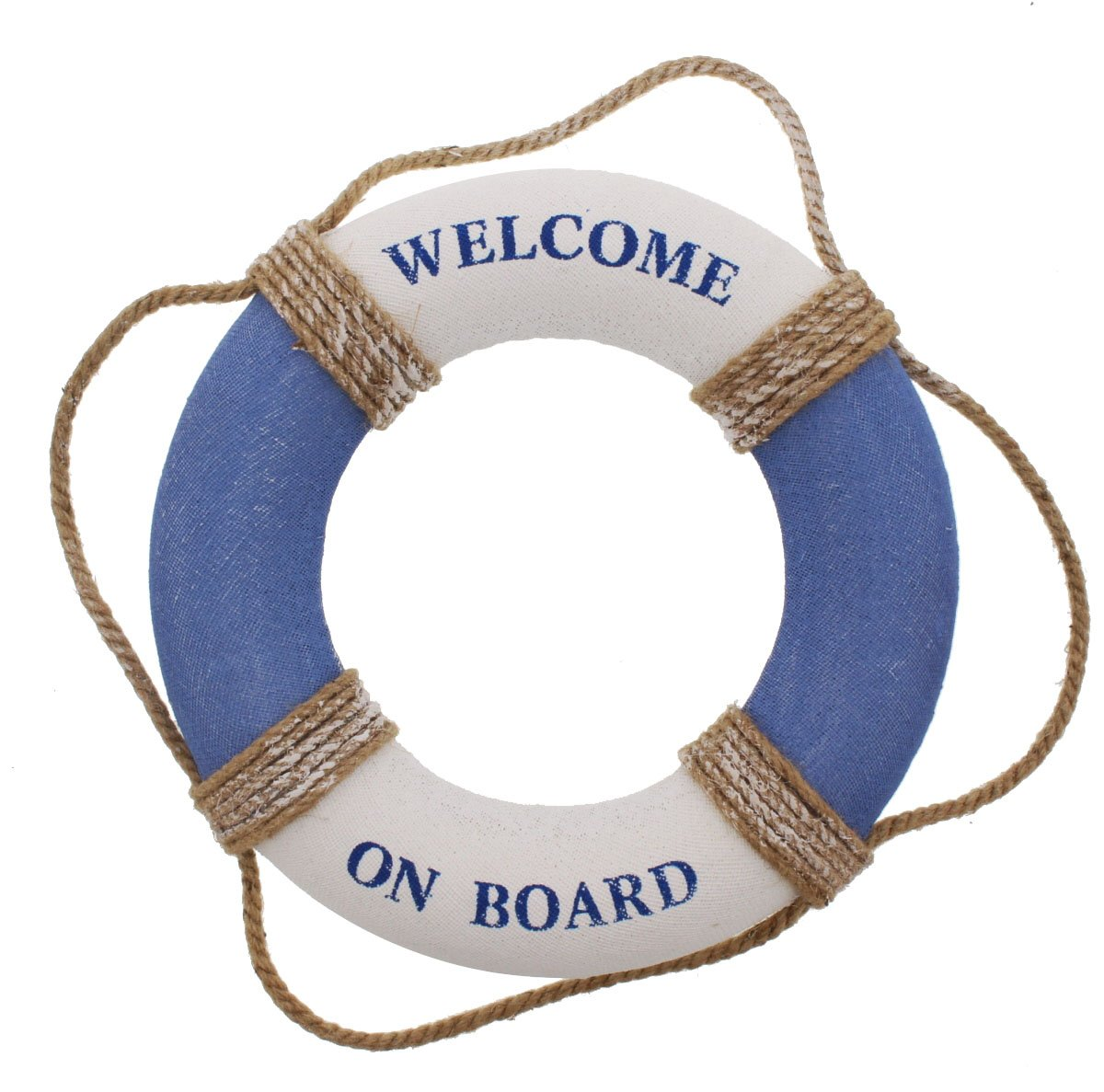 Juvale Life Ring Welcome on Board - Life Ring Swim Tube Decoration Decor Life Ring Greeting Blue White Nautical - 12.5 inches