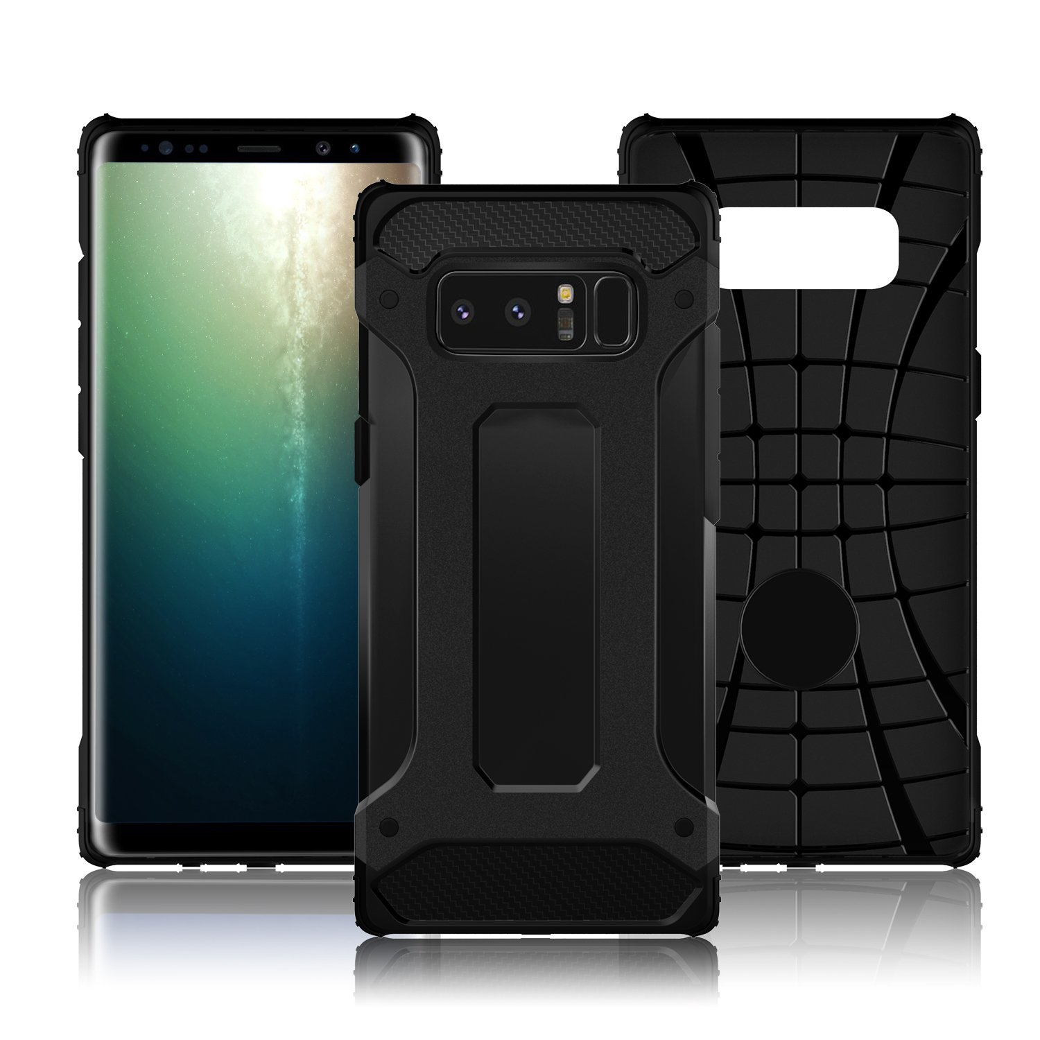 Galaxy Note 8 Case, LoHi Heavy Duty Protection Defend Shockproof Clip Holster with Rugged Bumper 6.3 Inch (6.3 Black)