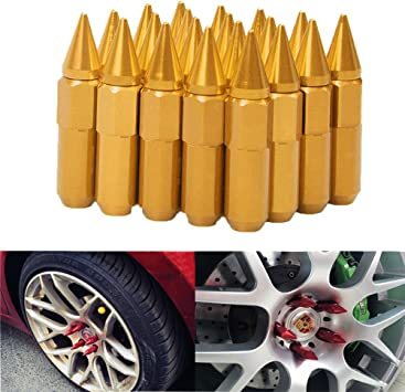 EDJIAN 20 PCS Aluminum Acorn Conical Wheel Lug Nuts Open End 12x1.5 Thread Size With Key PURPLE