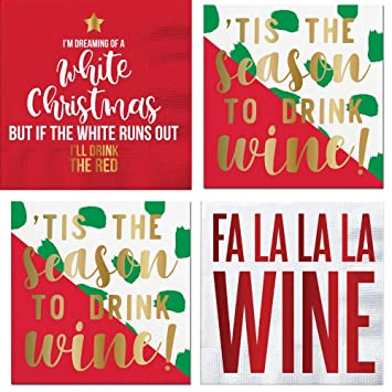 Amazon Com Funny Christmas Cocktail Napkins Wine Phrases Gold Foil