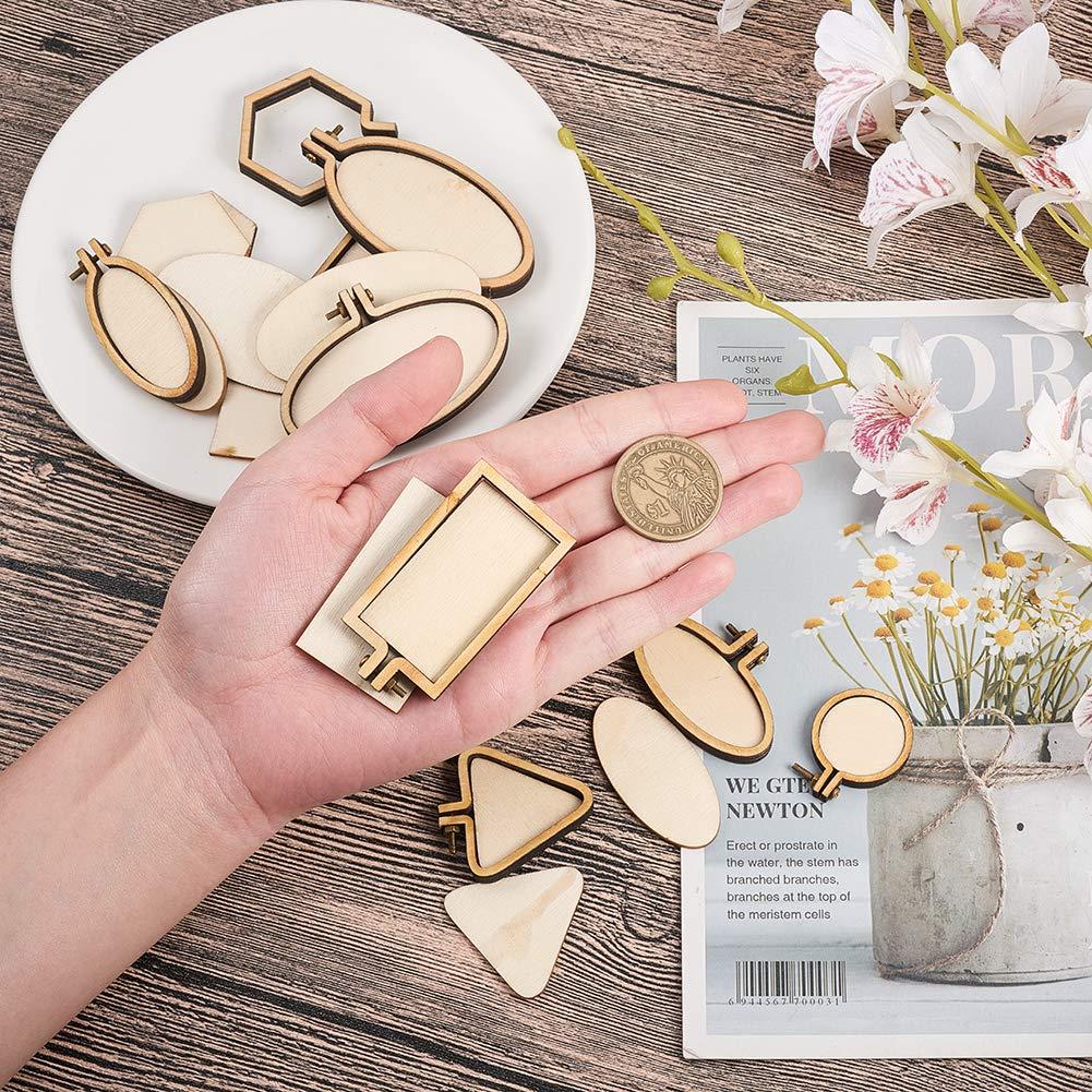 und passenden Anschl/üssen zum N/ähen und Aufh/ängen von Kunstwerken 1,5 mm PandaHall Elite 10 S/ätze Ringstickrahmen Mini-Stickrahmen aus Holz mit Perlenkette
