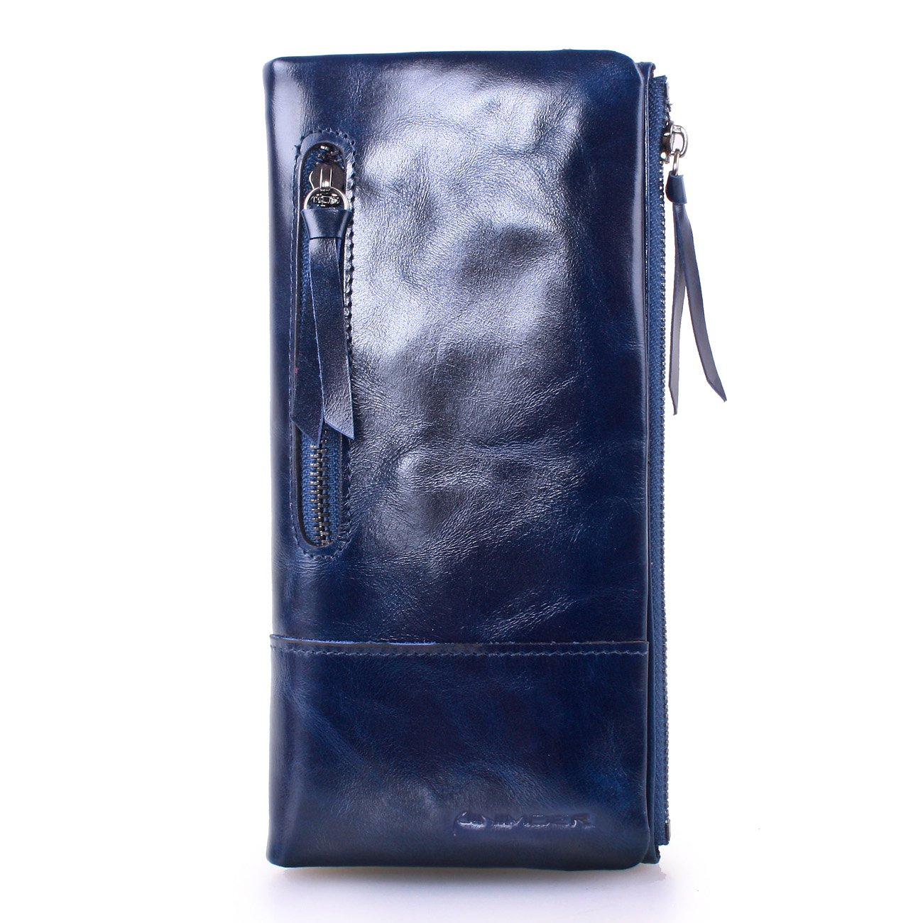 AINIMOER New Women Fashion Waxy Leather Vintage Billfold Long Wallet Casual Simple Style Mini Clutch Card Holder Zipper Closure Money Clip(Blue)