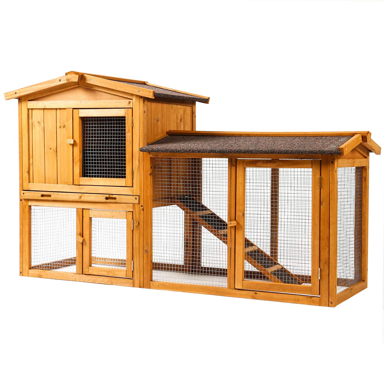 Sunnyglade Chicken Coop Large Wooden Outdoor Bunny Rabbit Hutch Hen Cage with Ventilation Door, Removable Tray & Ramp Garden Backyard Pet House Chicken Nesting Box by Sunnyglade