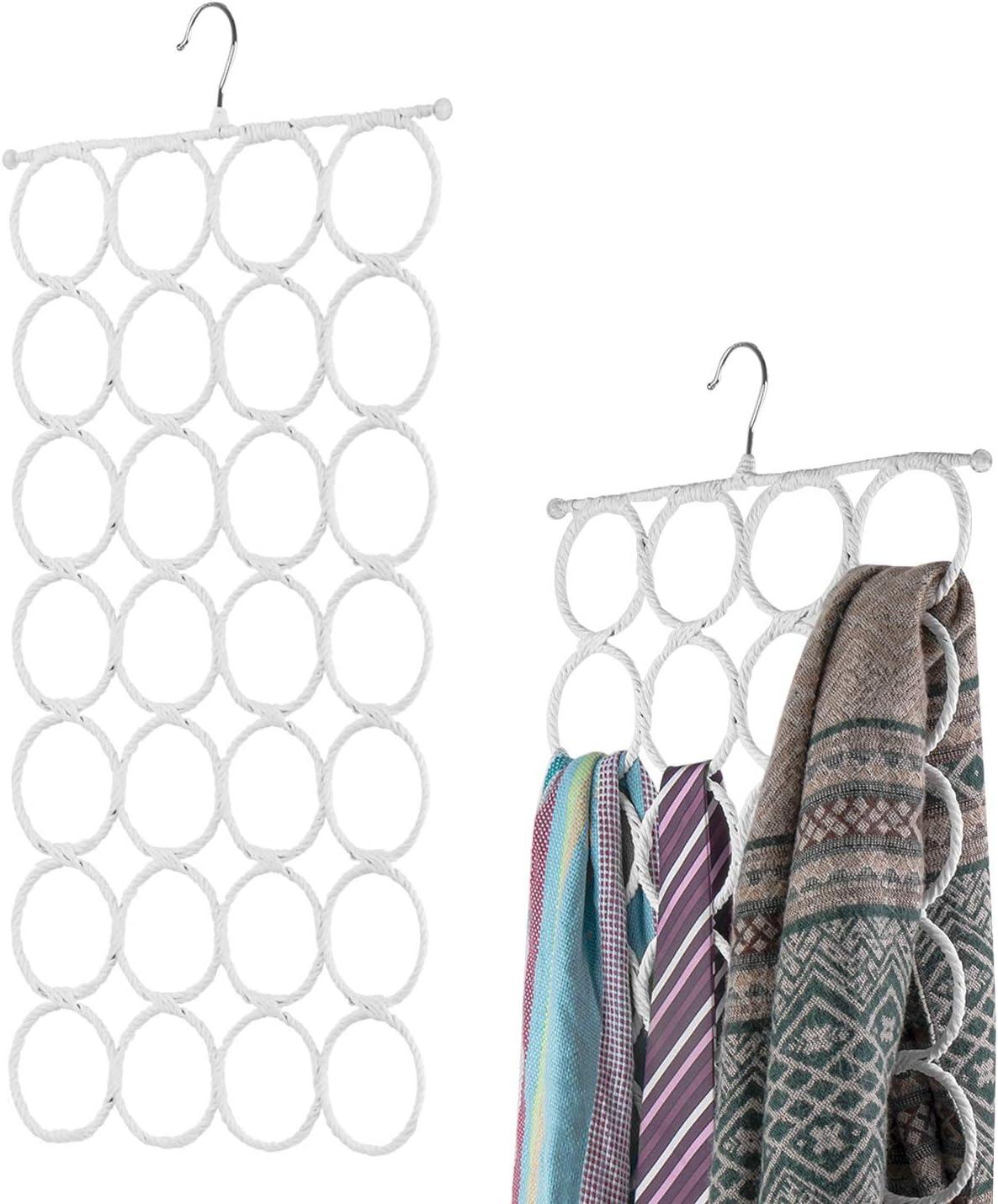 Flexzion Scarf Hanger Holder - (2 Pack, White) 28 Count Circles/Ring Slots Multifunctional Hanging Rack, Home Organizer, for Socks Scarf Ties Belt Mufflers Shawl/Door Closet Organization