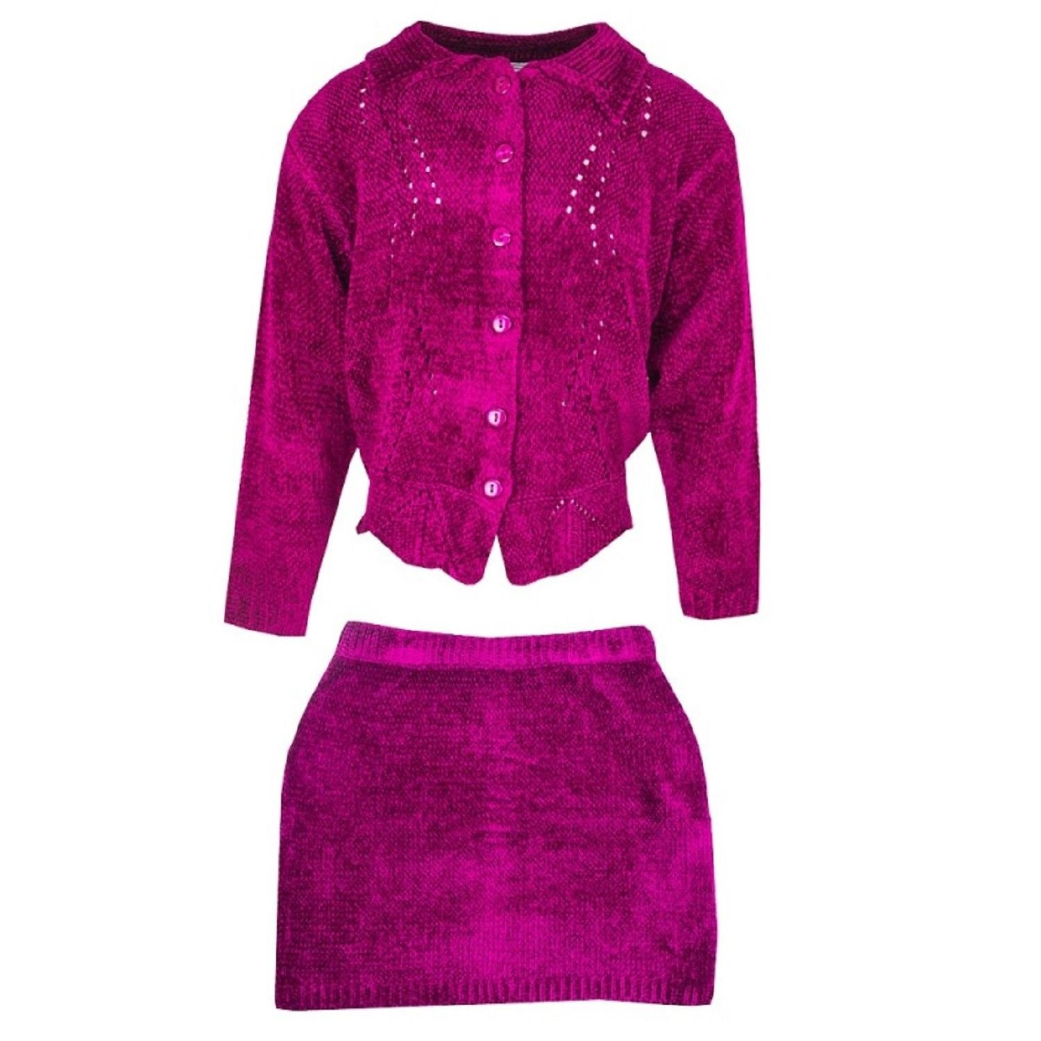 Ex-Store Girls Skirt Cardigan 2 Piece Set Chenille Knit Winter Outfit