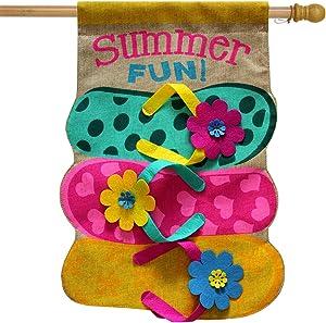 "Briarwood Lane Summer Fun Flip Flops Burlap House Flag Nautical 28"" x 40"""