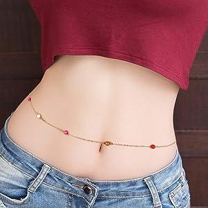 Women Gold Silver Chain Beads Waist Belly Chain Minimalist Beach Body Chain IT